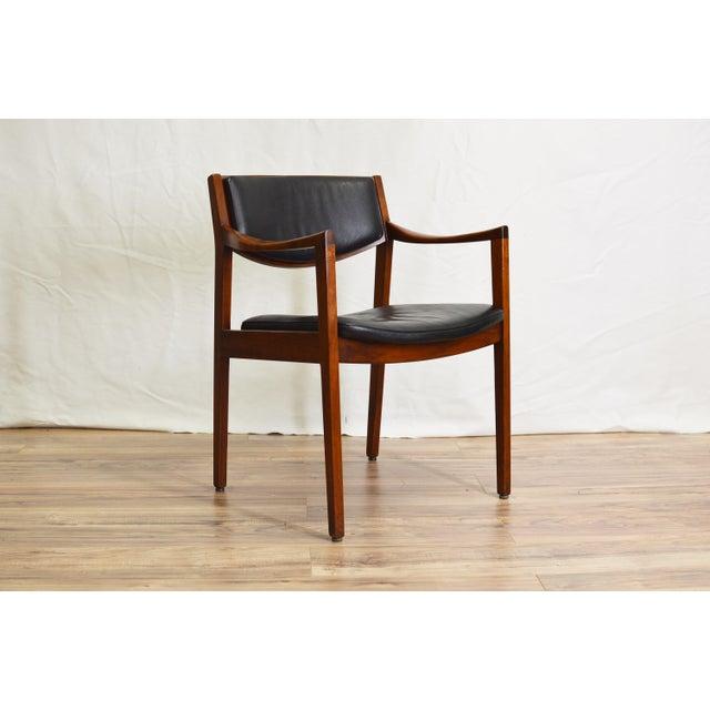 Danish Modern Vintage Teak Black Leather Gunlocke Chair For Sale - Image 3 of 10