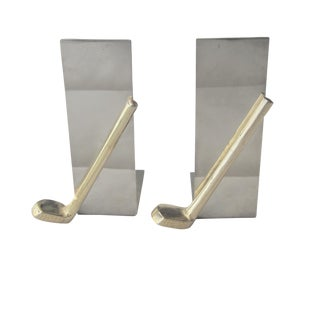Final Markdown. Will Be Removed Jan 31st..Mid-Century Chrome and Brass Golf Bookends - a Pair For Sale