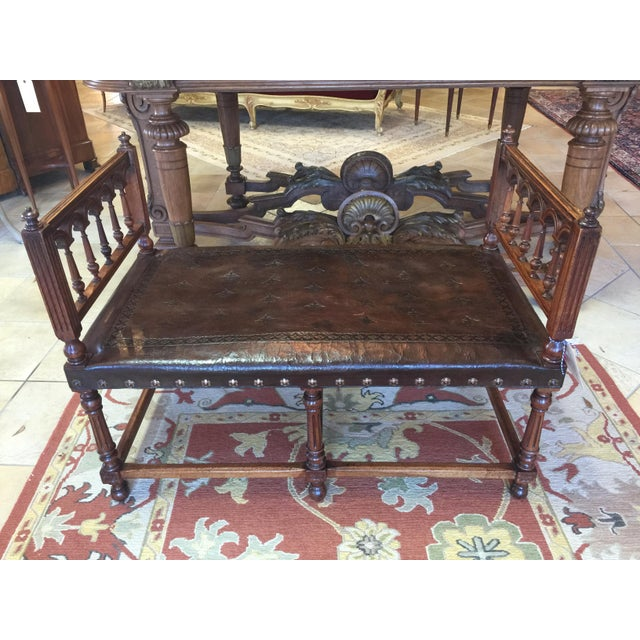 Antique Henry II Walnut & Tooled Leather Bench - Image 6 of 6