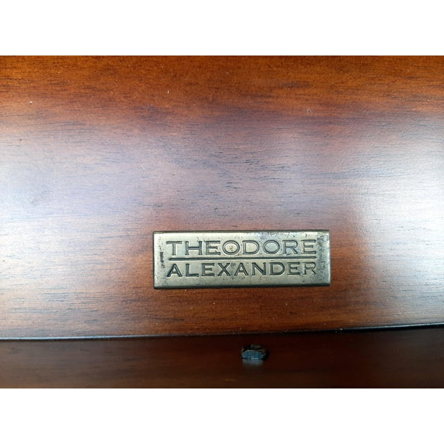 Theodore Alexander Eglomise Gilded Wood and Glass Coffee Table With 3 Drawers and 2 Leather Pull Outs For Sale - Image 11 of 13