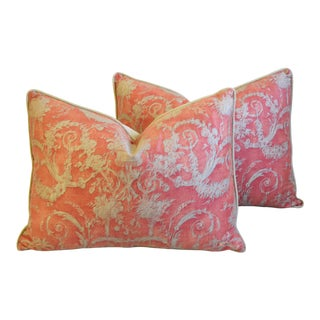 "Italian Fortuny Festoni Feather/Down Pillows 24"" X 18"" - Pair For Sale"