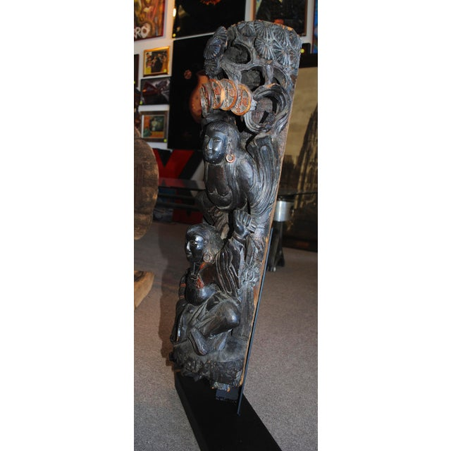 Antique Chinese Carved Wood Guardian Sculpture For Sale In Las Vegas - Image 6 of 11