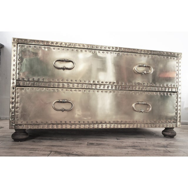 Gold 1970's Sarreid Ltd. Brass Low Boy Chest For Sale - Image 8 of 13