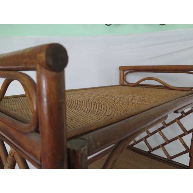 1960's Cane Wicker & Rush Bar Cart For Sale In Los Angeles - Image 6 of 6
