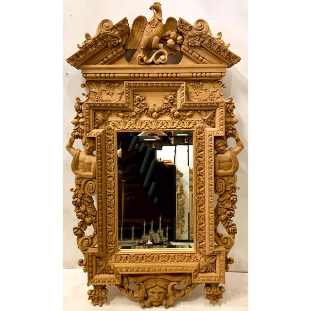 Wood Monumental Neo-Classical Style Carved Mirror For Sale - Image 7 of 7