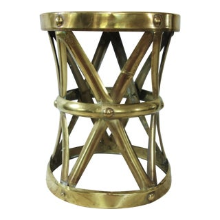 1970's Vintage Brass X Base Garden Stool For Sale