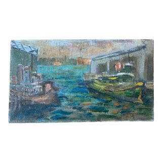 """Early 20th Century """"Tugboats in Harbor"""" Maritime Scene Oil Painting For Sale"""