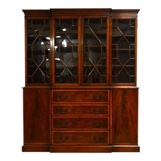 Beacon Hill Mahogany Banded Breakfront Bookcase with Pull-Out Desk