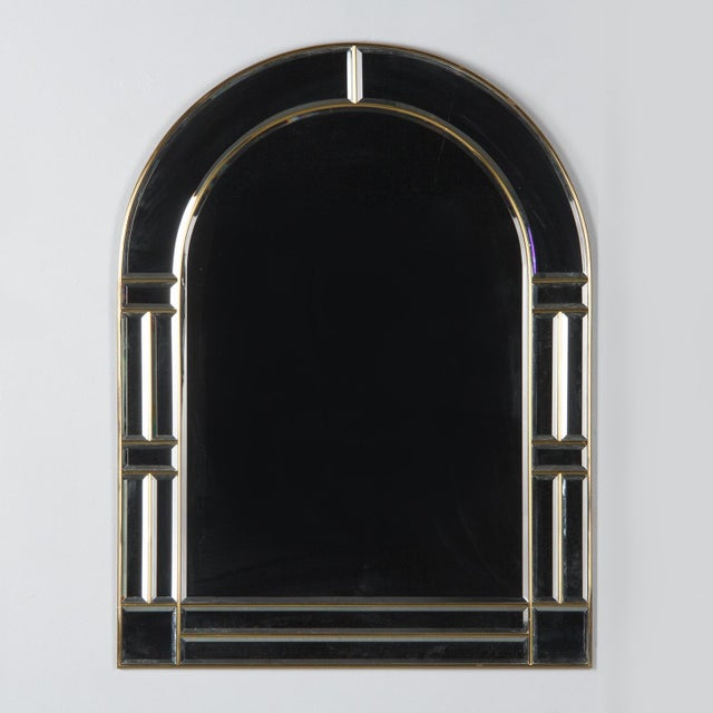 Brass 1970s Italian Beveled Glass Mirror With Brass Frame For Sale - Image 8 of 13