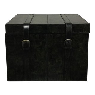 Leather Black Storage Trunk Box for Living Room