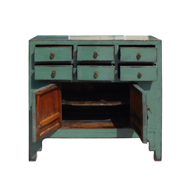 Gray Blue Lacquer 6-Drawer Credenza Cabinet For Sale - Image 5 of 6