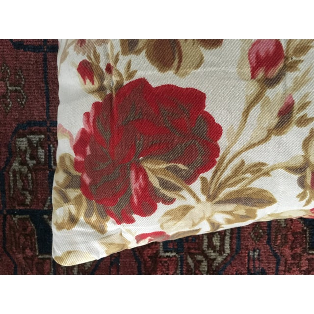Vintage French Floral & Linen Textile Accent Pillow - Image 5 of 8