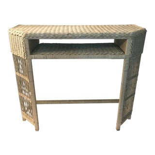 White Wicker Console or Dressing Table For Sale