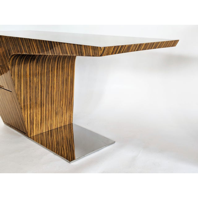 Zebra Wood Modern Cantilever Desk For Sale - Image 10 of 13