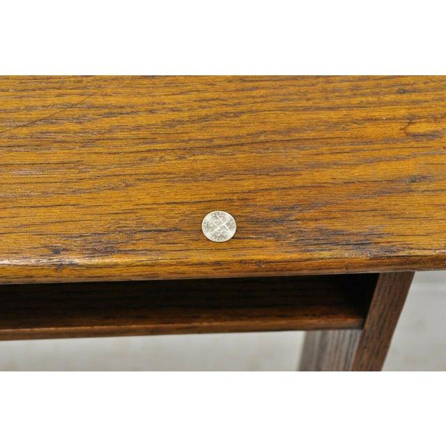 Wood Vintage Arts & Crafts Mission Oak Wood Prayer Kneeler Kneeling Bench Seat For Sale - Image 7 of 12