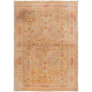 Early 20th Century Antique Turkish Oushak Wool Rug For Sale
