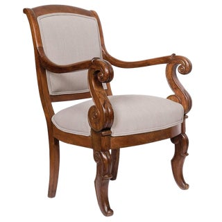 French Restauration Solid Walnut Armchair For Sale