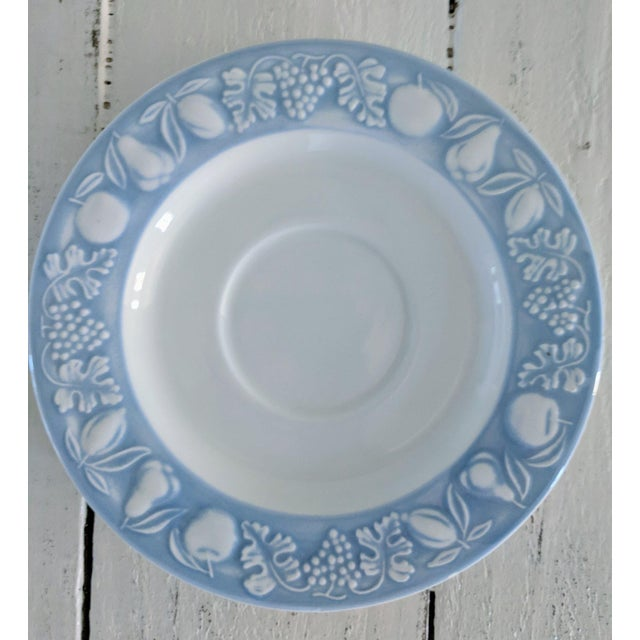 This is a 6 inch round saucer in a rare light blue on white Franco Giorgi pattern made by Quadrifoglio. Only 1 available....