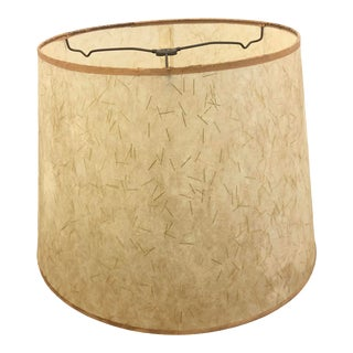 Vintage Mid Century Modern Beige Fiberglass Lamp Shade With Gold Sparkle For Sale