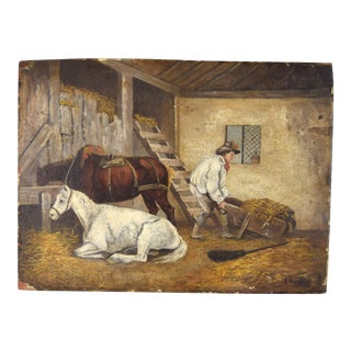 "English Genre ""Mucking Out Stable With Horses"" Oil Painting by George Morland For Sale"