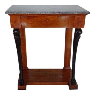19th Century Empire Walnut & Ebonized Marble-Topped Console Table For Sale