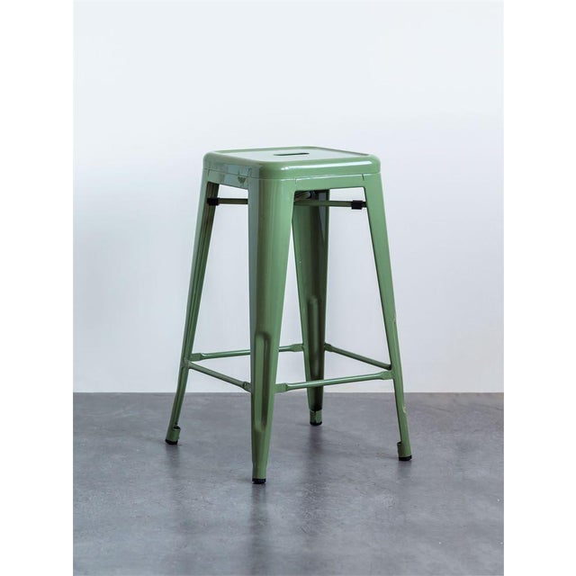 Iconic Classic Green Metal Stool For Sale - Image 4 of 6