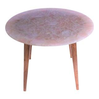 Modern Rose Quartz Round Dining Table For Sale