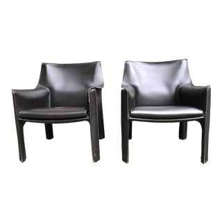 1980's Vintage Mario Bellini for Cassina Cab Lounge Chairs- A Pair For Sale