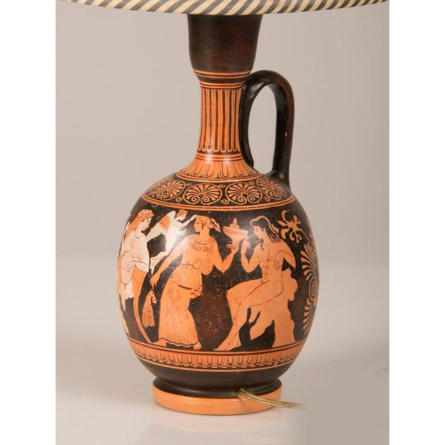 19th Century Greek Hand Painted Earthenware Amphora Lamp For Sale In Houston - Image 6 of 9
