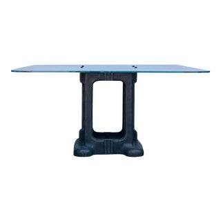 Industrial Sculptural Cast Iron Pedestal and Glass Dining/Work Table For Sale