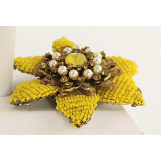Signed miriam haskell hand beaded large flower brooch in bright yellow glass seed beads with imitation pearl, topaz...