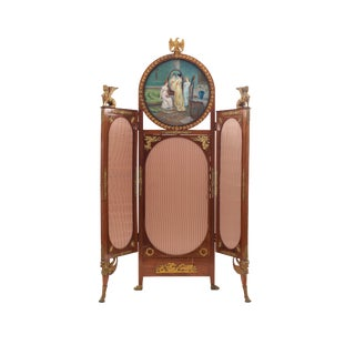19th Century French Empire Style Mahogany Three Fold Screen For Sale