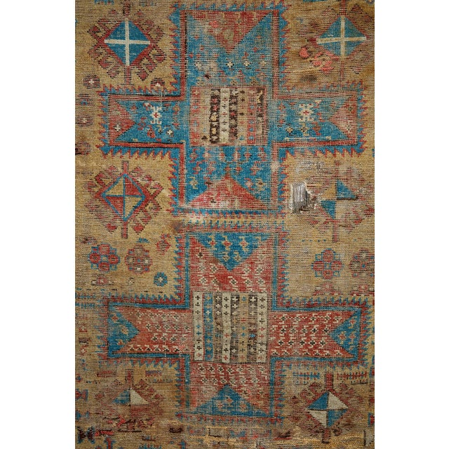 Late 19th century super worn antique Caucasian rug From the Mountain Range Caucasus This is a beautiful tapestry would be...