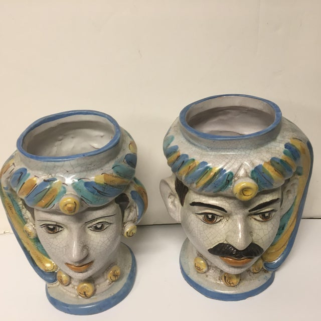 Blue Figurative Sicilian Vases - a Pair For Sale - Image 8 of 10