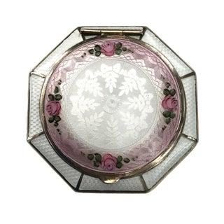 Vintage Guilloche Enamel Floral Compact For Sale