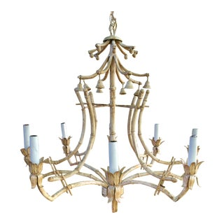 Vintage 8 Light Italian Chinese Chippendale Faux Bamboo Tole Metal Pagoda Chandelier For Sale