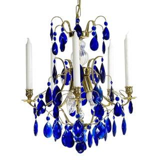 Blue Crystal Chandelier For Sale