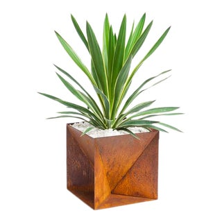 Trey Jones Studio Weathering Steel Origami Planter For Sale
