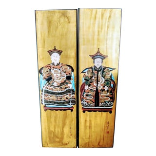 A Pair Massive Chinese Ancestor Noble Men Matriarch Monarch Emperor Quing Dynasty Painted Wall Panels Paintings For Sale