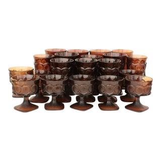 Noritake Spotlight Walnut Brown Glass Goblets - Set of 20 For Sale