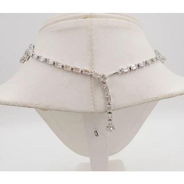 Mid-Century Modern 1950s Kramer of Ny Rhinestone Festoon Necklace For Sale - Image 3 of 12
