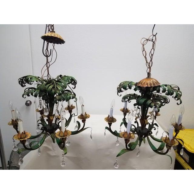 Vintage Pair of Hanging Colorful Leaf/Frond Lights - Flush Mount Ceiling For Sale - Image 13 of 13