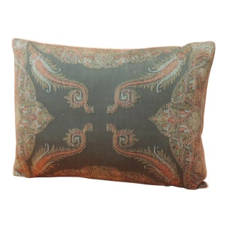 Antique Kashmir Paisley Lumbar Decorative Pillow For Sale