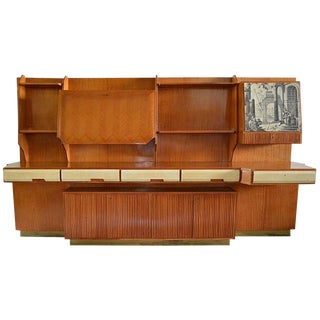 1950s Mid Century Modern Vittorio Dassi Wall Unit With Bar For Sale