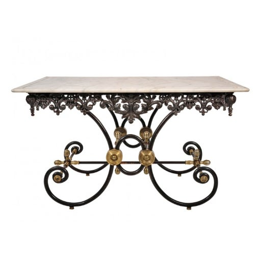 Stone French Marble Top Bakers Table For Sale - Image 7 of 7