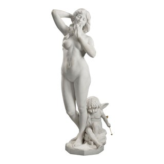 Marble Statue Of Venus And Cupid By Antonio Frilli For Sale
