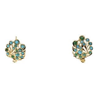 Turquoise & 14k Open Leaf Earrings For Sale