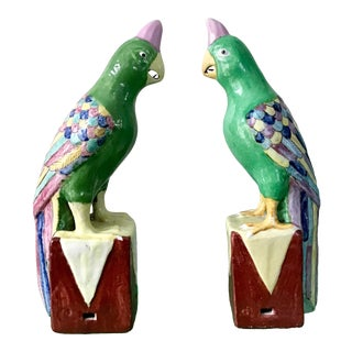 Green Parrots Ho Ho Birds on Plinth Figurines - a Pair For Sale