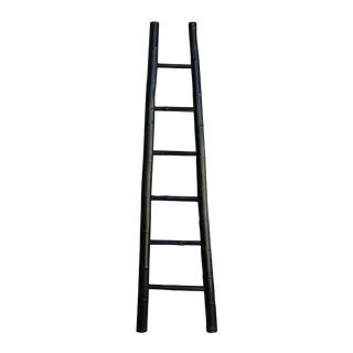 Black Oriental Bamboo Ladder Shape Display Towel Rack Wall Panel For Sale