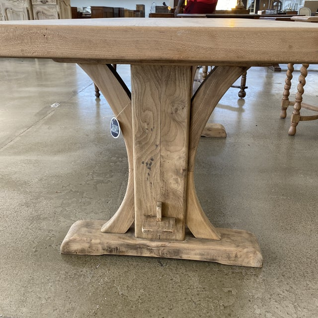 French Bleached Walnut Trestle Table For Sale In Atlanta - Image 6 of 13